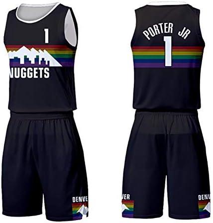 メンズおよびレディースバスケットボールユニフォームNuggets Urban EditionジャージポーターNo. 1ジャージノースリーブメッシュバスケットボールジャー