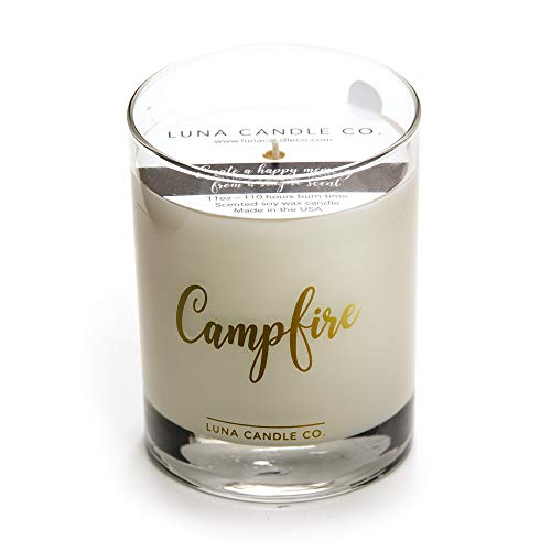 Soy Blend Jar Candle - Fall Decor Campfire Scented Candle, Premium Natural Soy Blend Wax Jar Candle, Fall Gifts for him, 11 oz, Clean Burning, Aromatherapy Spa Candle - Lune Candle Co.