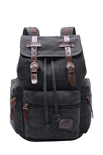 Baumwolle Leinwand Lässige Tunnelzug Outdoor-Sport Camping Schule Laptop Tasche Schultasche Rucksack Taschen für Herren