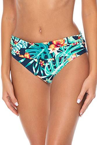 Sunsets Women's Unforgettable Shirred Band Bikini Bottom Swimsuit, Hibiscus Hideaway, Large
