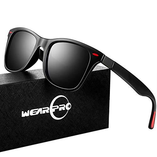 (Sunglasses for Men Vintage Polarized Fashion Sun Glasses WP1001-2 (Black/Red_nail))