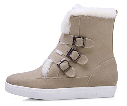 Easemax Trendy Daim Solide Boucle Bout Rond Talon Bas Plate-forme Bottes Abricot
