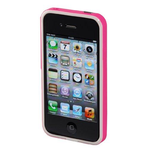 Hama Coque Hybrid p. le téléphone mobile Apple iPhone 4/4S,Blanche/Rose fluo