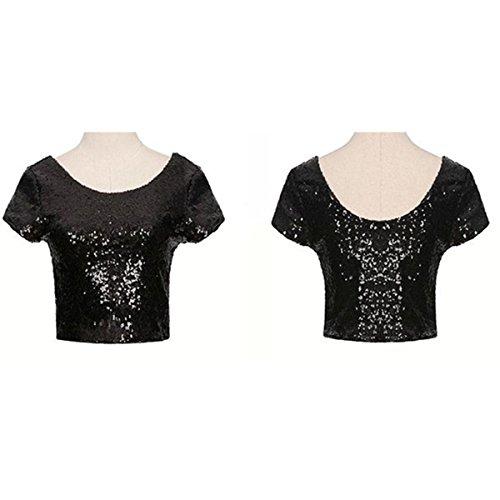 da T Donna Paillettes con con Paillettes o Manica Corta H Shirt abbellite a Maniche Corte Estiva Uxr6wqO4U