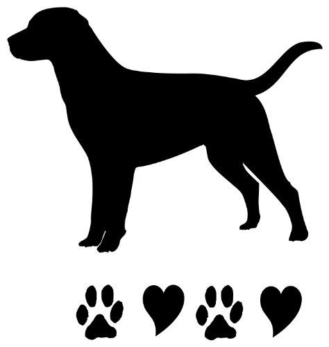 (Labrador Retriever Dog Lover Black Lab Paws and Hearts set of 2 Vinyl Decal Sticker)