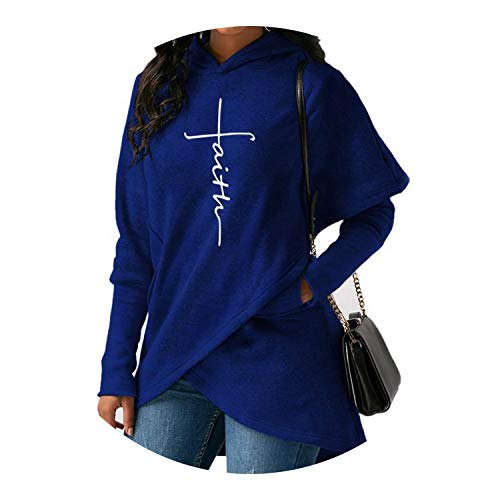 Autumn Sweatshirts Women Long Sleeve Pocket Embroidery Warm Hooded Pullover Tops,Blue Embroidery,S