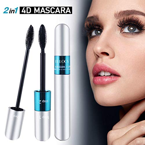 Ellocy 4D Silk Fiber Lash Mascara, 2 in 1 Mascara for Natural and Voluminous Look - Premium Thickening and Waterproof Mascara for Long-Lasting, Charming Eye Makeup