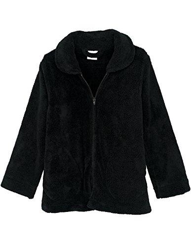 TowelSelections Women's Bed Jacket Zip Front Cardigan Fleece Robe Lounge Coverup Small - Zip Microfiber Jacket