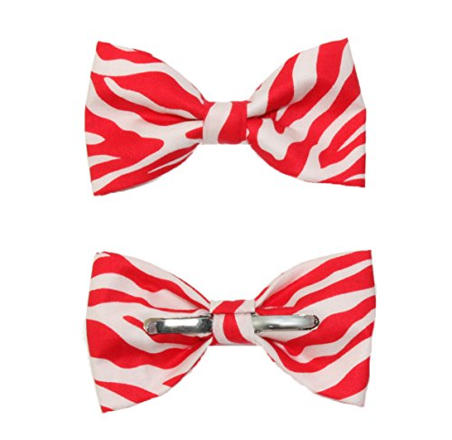 MENDENG Mens 3 Pack Cotton Adjustable Pre-Tied Black White Red Blue Bow Tie