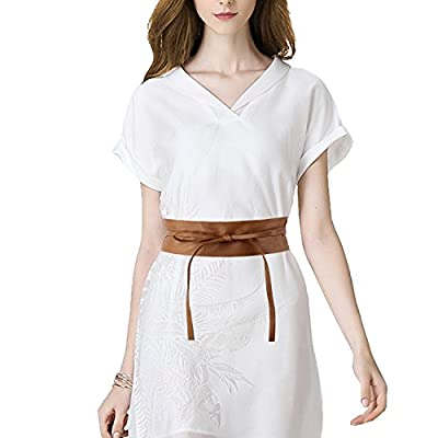 Acecharming Womens Fashion Leather Obi Style Wide Waist Band Belt