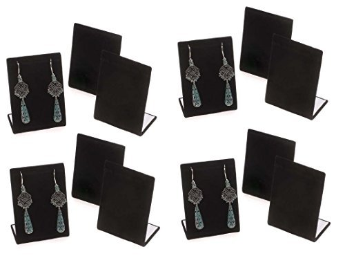 (12-Pack Black Velvet Pendant Chain Necklace Display Stand 3.5