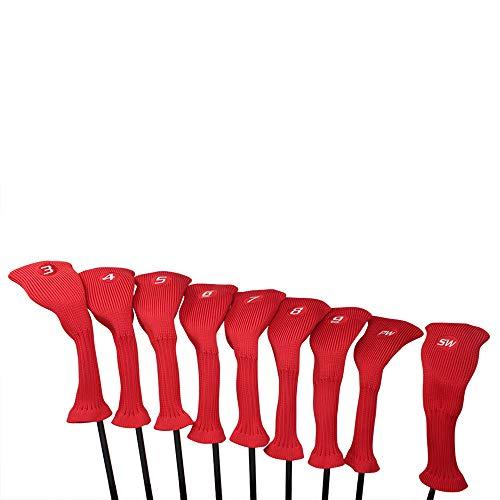 Majek All Hybrid Golf Club Red Headcover Set 3-SW. Neoprene Acrylic Head Covers 3 4 5 6 7 8 9 PW SW