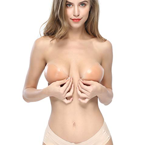 Underwire Adhesive Bra Strapless Sticky Bra Invisible Push up Silicone Bra for Backless Dress (C, Pink)