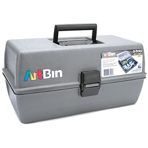 ArtBin Upscale Tool Box with Metal Links, Slate Grey, 3-Tray - Craft and Hobby Supplies