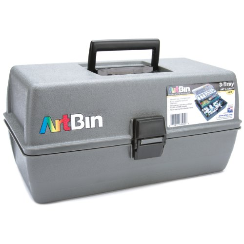 ArtBin 8413 Upscale Tool Box with Metal Links, Slate Grey, 3-Tray (Upscale Box)