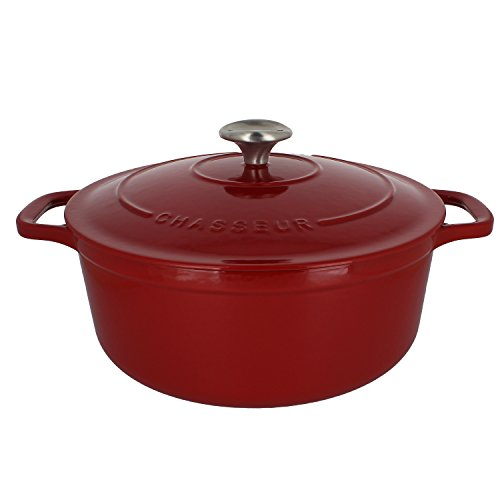 Chasseur 5.5-quart Red French Enameled Cast Iron Round Dutch Oven Chasseur Casserole