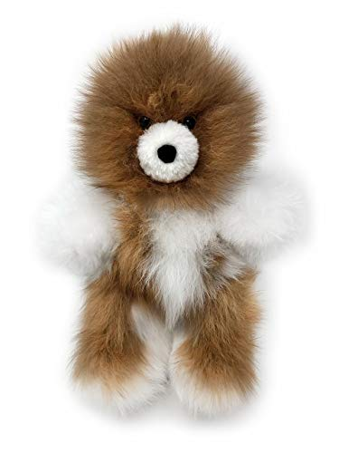 - Baby Alpaca Fur Teddy Bear - Hand Made 10 Inch Multi - Honey/White