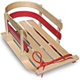 Flexible Flyer Baby Pull Sled. Wood Toddler to-Boggan. Wooden Sleigh for Kids