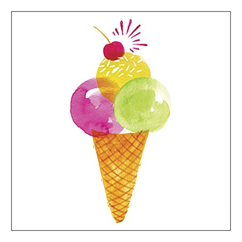 Watercolor Ice Cream Cone Napkins