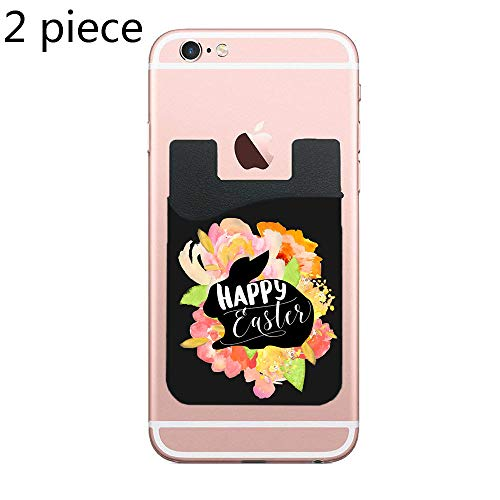 Cardly (Two) Cell Phone Stick on Wallet Card Holder Phone Pocket for iPhone, Android and All Smartphones (Happy Easter Bunny Floral) ()