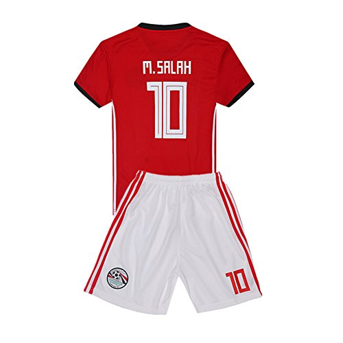 Salah 10 Egypt 2018 World Cup Home Kids Soccer Jersey & Shorts. Color Red Size 13-14Years by Cyllr