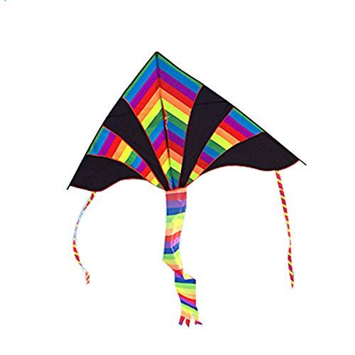 AMLJM 凧メーカー カラフル 三角形 凧 1.6m ブラック 長い尾 色 ストリップ 三角形 凧 楽しい スポーツ おもちゃ ギフト ファニー スポーツ アウトドア プレイング トイ B07QZW6JXQ