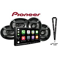 Pioneer MVH-2300NEX 7 Digital Media Video Receiver Apple CarPlay Android Auto Built in Bluetooth w/ One Pair of 6.5 and One Pair of 6x9 Car Speakers and a SOTS Lanyard