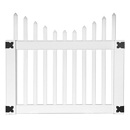 Veranda Vinyl Fence Gates: Pro Series 42 in. x 4 Ft. Alexandria Cut Scalloped Spaced Picket Walk Through Vinyl Fence Gate 144724 (Fencing Scalloped Vinyl)