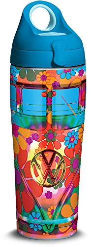 Tervis 1318075 Volkswagen - Peace Love Stainless Steel Insulated Tumbler with Lid, 24 oz Water Bottle, Silver