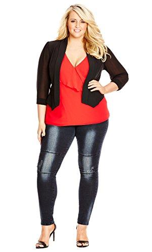 Designer Plus Size JKT CROPPED BLAZER - Black - 16 / S   City Chic