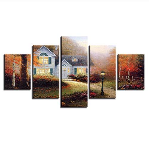 Alasijia HD Prints Painting Wall Art Framework Canvas 5 Pieces Cottage Pictures Home Decor for Living Room Autumn Garden Landscape Poster-30CMx40/60/80CM