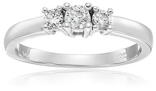 14k White Gold Round 3-Stone Diamond Ring (1/4 cttw, I-J Color, I1-I2 Clarity), Size 5 by Amazon Collection