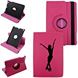 IPad Mini 1,2,3 SKATER, Leather Rotating Case 360 Degrees Multi-angle Vertical and Horizontal Stand with Strap (Hot Pink)