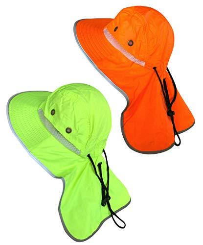 Men High Visibility Sun Hat with Neck Flap Wide Brim Boonie Hat Bucket Cap Packable Adjustable (2PCS (Orange+Lime)) ()