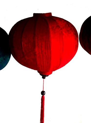 Vietnamese Silk & Bamboo Lampshade / Lantern (20 inch / 50cm) (Red)