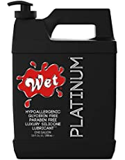 Wet Platinum Silicone Based Sex Lube. Premium Personal Luxury Lubricant for Men Women & Couples. More Long Lasting Than Water Based. Condom Safe Hypoallergenic Glycerin Paraben Free Intimacy
