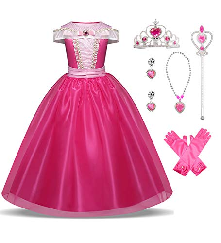 LENSEN Tech Girls Princess Aurora Costume Drop Shoulder Halloween Party Long Dress with Accessory (Pink with Accessory, 6-7 Years)