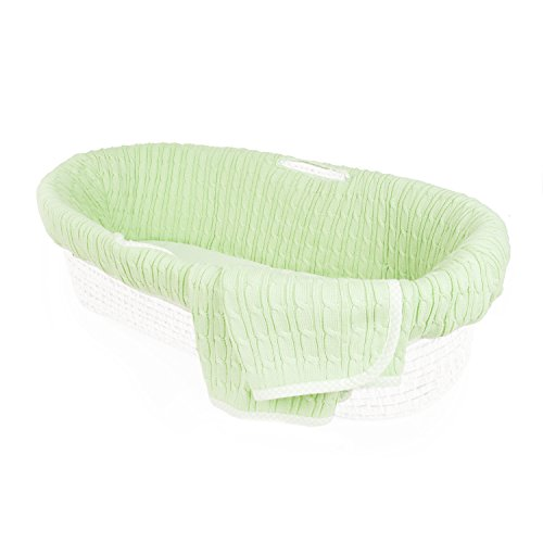 Tadpoles Cable Knit Moses Basket Bedding Only, Green