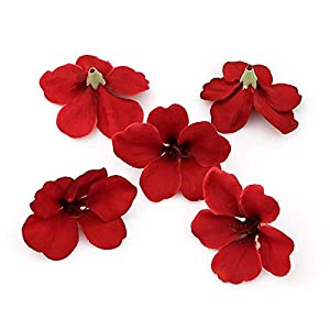 fake flowers heads Spring Silk Orchid Artificial Flower Heads,Gladiolus Cymbidium Flowers for Wedding Decoration 100pcs/lot (red) 24