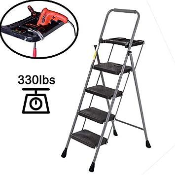 Easyzon Escalera de 4 peldaños con bandeja de herramientas, escalera de taburete plegable ligera para interior/exterior con amplia plataforma antideslizante, capacidad de 330 libras: Amazon.es: Bricolaje y herramientas