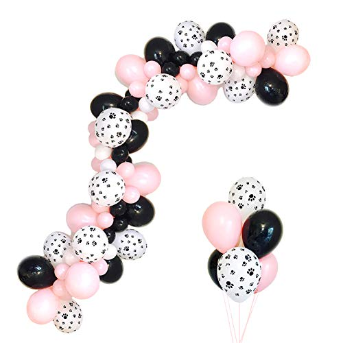 Pawty Dog Balloon Garland Kit 16Ft Pink Girl 1st One Birthday Party Doggy Birthday Puppy Theme Paw Print Black Balloons Decorations (Black Paw Print Party Supplies)
