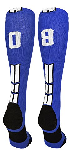 MadSportsStuff Royal/White Player Id Over the Calf Number Socks (#08, Small)