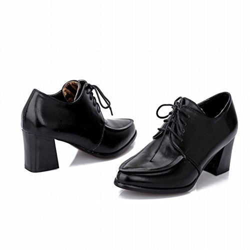 Latasa Femmes Mode Point Mi Chunky Talon Lacets Chaussures Oxford Noir