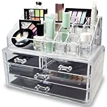 Acrylic Makeup Jewelry Vanity Organizer - Clear lipstick Make up brush display case container for beauty products! 16 slot 4 boxdrawers holder storage earring and other cosmetic items for bathroom!