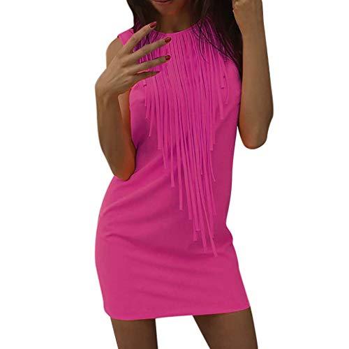(BingYELH Dresses Women Summer Sleeveless Mini Dress Casual Beach Holiday Evening Party Sundress Tassel Mini Solid Gown Dress Pink)