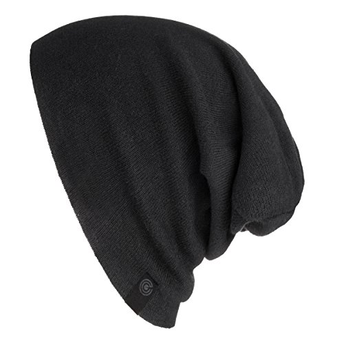 Warm Slouchy Beanie Hat - Deliciously Soft Daily Beanie in Fine Knit Black One Size