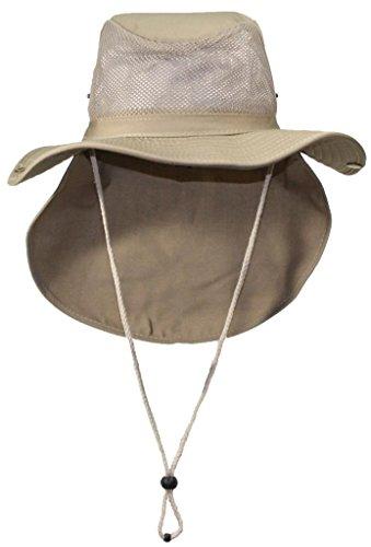 (Tropic Hats Packable Wide Brim Mesh Safari/Outback W/Neck Flap & Snap up Sides - Tan L)