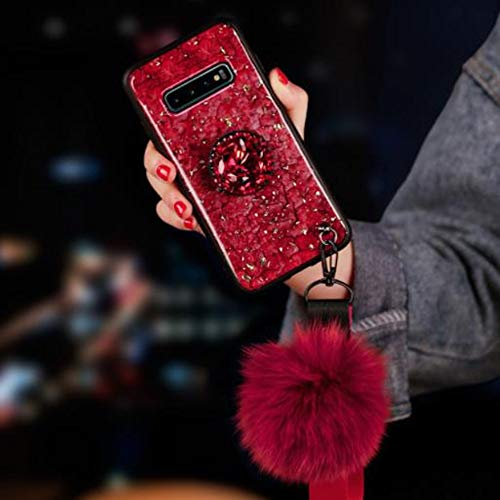 Samsung S8 Plus Fur Ball Case with Bling Ring Stand,Aulzaju Galaxy S8 Plus Luxury Shiny Marble Style Shockproof Hybrid Hard Fashion Case for Samsung S8 Plus for Girls Women-Red