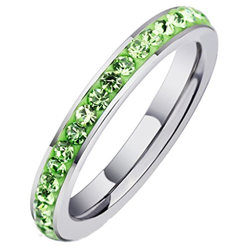 Women's Rings Stainless Steel Classic Channel CZ Set Green Eternity Primise 3MM Size 7 by Aienid