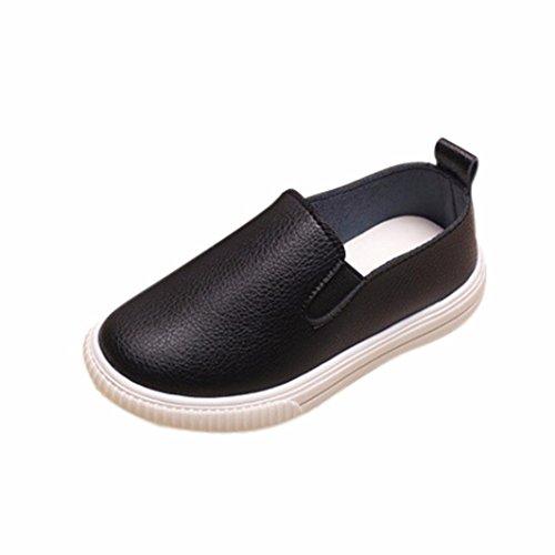 JIANGFU Kinder Mädchen Jungen Kind Fashion Solid Kleinkind Turnschuhe Casual Faule Schuhe, Solides Brett der Kinderautofaser nahtloser PU-weiße Schuhe ein Pedal Black